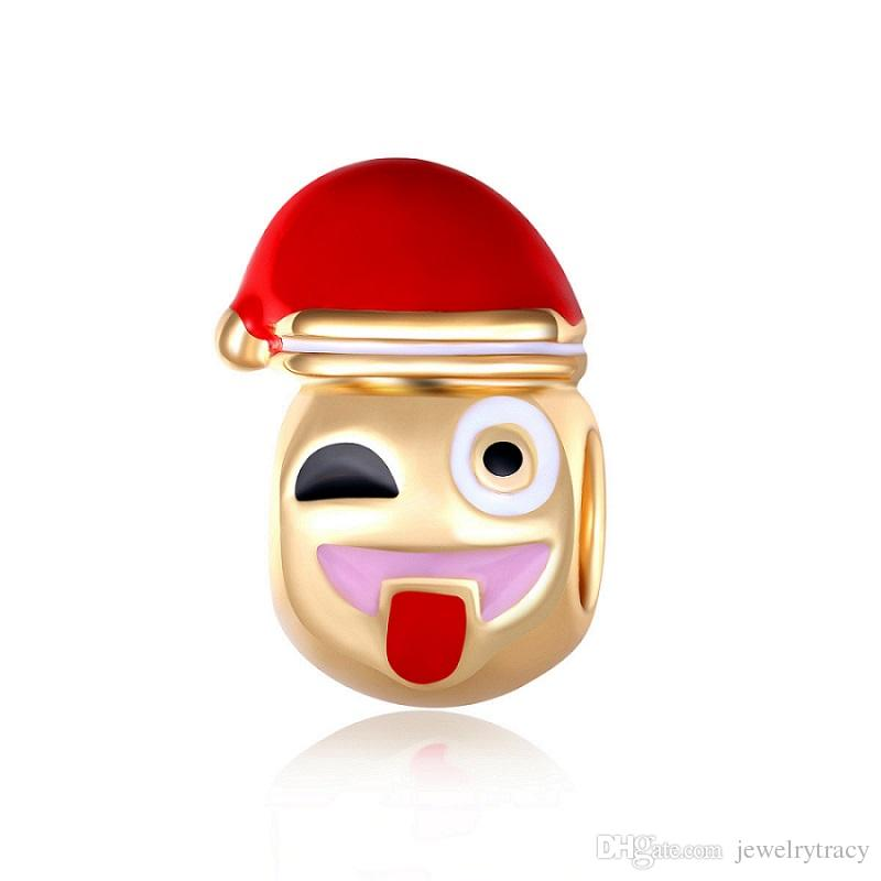 Cartoon golden beads smile alloy large hole naughty tongue expression Christmas hats beads fit for pandora charms