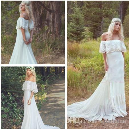 Discount Boho Country Forest Wedding Dresses 2017 Stylish Chiffon ...