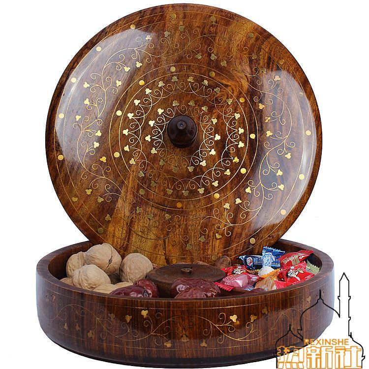 hand carved walnut nuts box wood inlaid with copper flower candy box gift melon