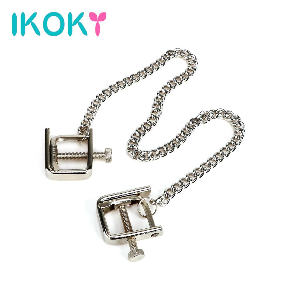 ikoky metal chain nipple clamps erotic sm toys adult games breast