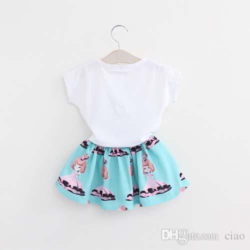 Vestido de niña coreana Ropa de niños Ropa de niños 2016 Verano de manga corta T Shirt Niños Niñas Faldas Set de niños Trajes de niños Ciao C23819