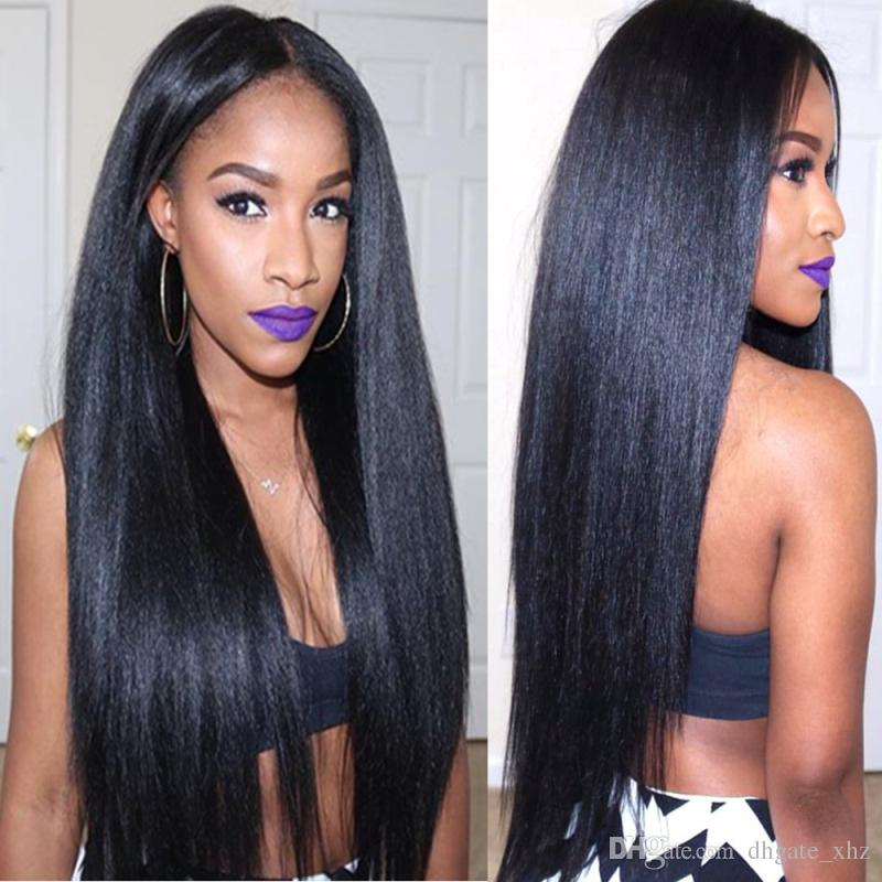 High Density Yaki Straight Brazilian Human Hair Glueless Lace Front & Full Lace Wigs For African Americans