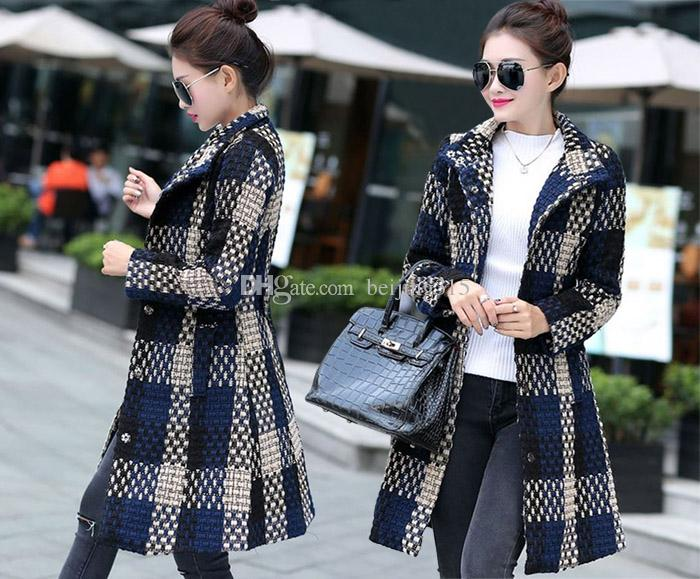 b101144657d7e 2019 Korean Plus Size Winter Coats Women Ladies Plaid Wool Coat Oversize  Woolen Overcoat Loose Wool Blend Trench Coat With Belt Size XL 4XL From  Beijing315