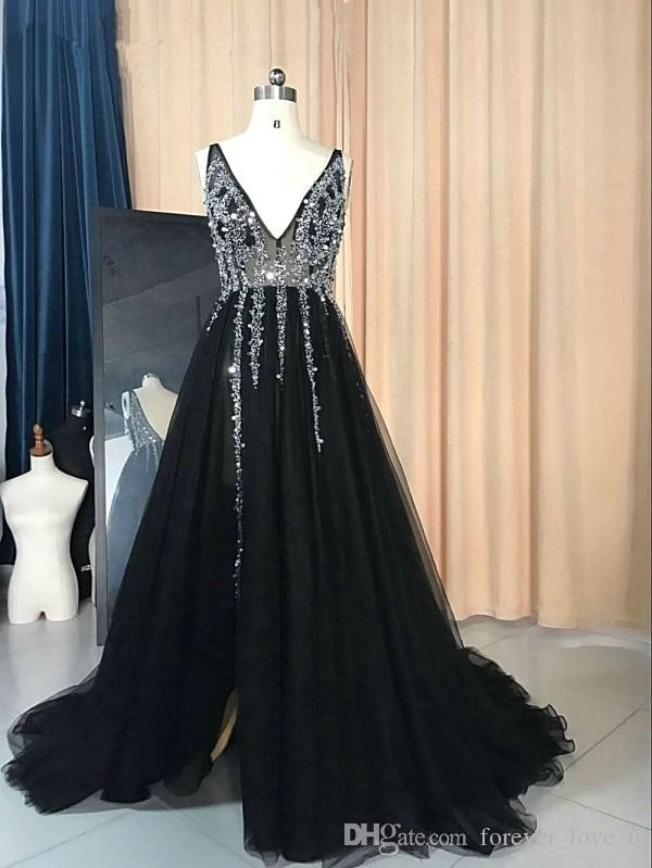 2017 Illusion Bodice Sexy Black Evening Gown A Line Deep V Neck Backless Sparkly Beads Sequins Crystal Tulle Evening Dress Prom Gowns