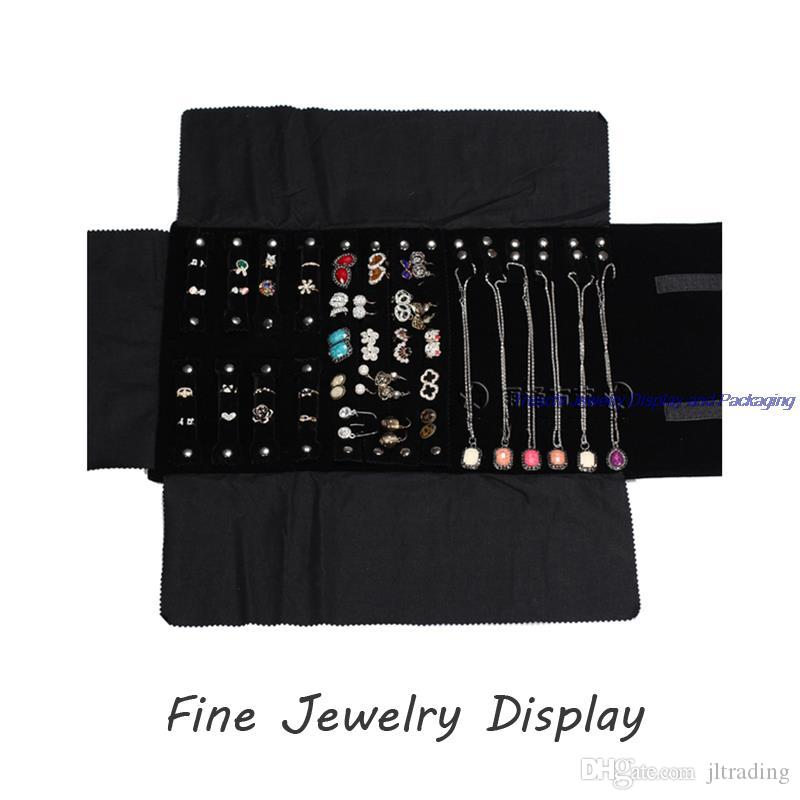 High Quality Jewelry Display Rolls Travel Portable Large Pouch Organizer Multi Funtional Bag Foldable Earring Ring Chain Necklace Storage