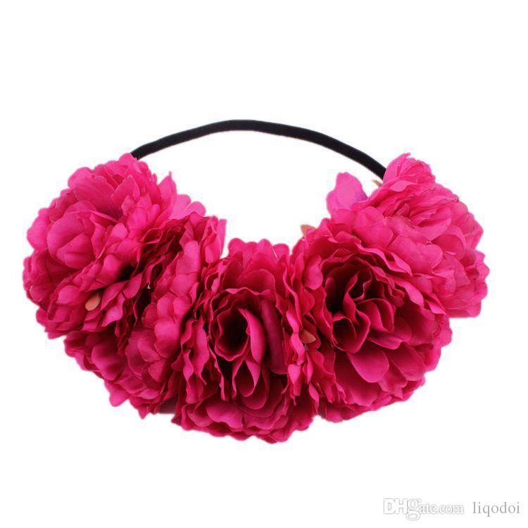 11 cm Grande Peônia Flor Artificial Grinalda Headband Início Decoração de Festa de Casamento Artesanato DIY Flor Falsa Guirlanda de Cabelo Banda