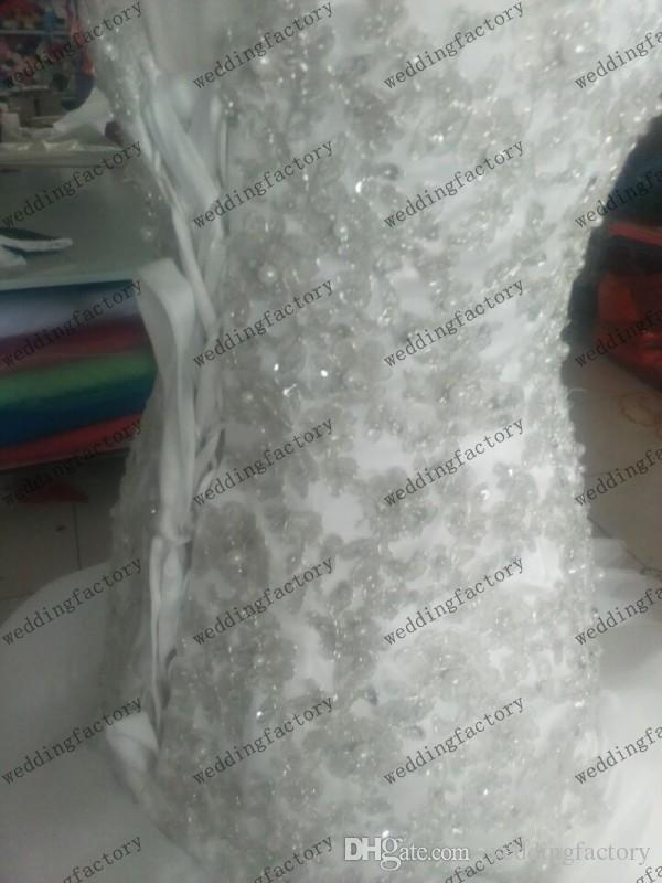 호화로운 진짜 이미지 대성당 기차 웨딩 드레스 Strapless Sweetheart Mermaid Bridal 가운 파란색 진주 절묘한 아플리케 위로 코르셋