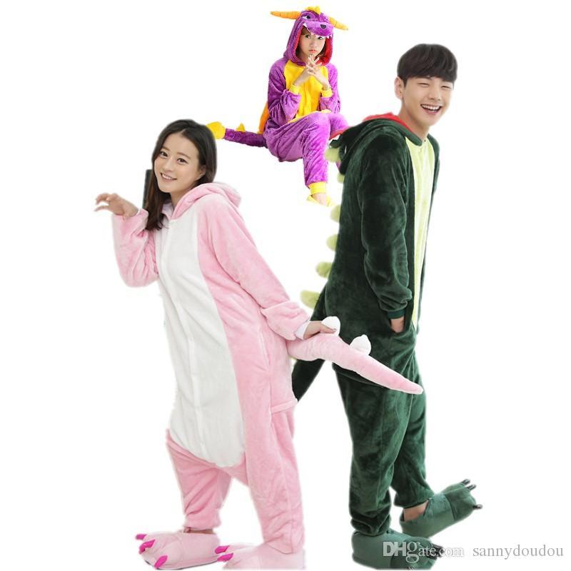 6abc114402 Acquista Dinosauro Kigurumi Pigiama Abiti Animali Cosplay Costume Di  Halloween Abbigliamento Adulti Cartone Animato Tute Unisex Animal Sleepwear  A $24.37 ...