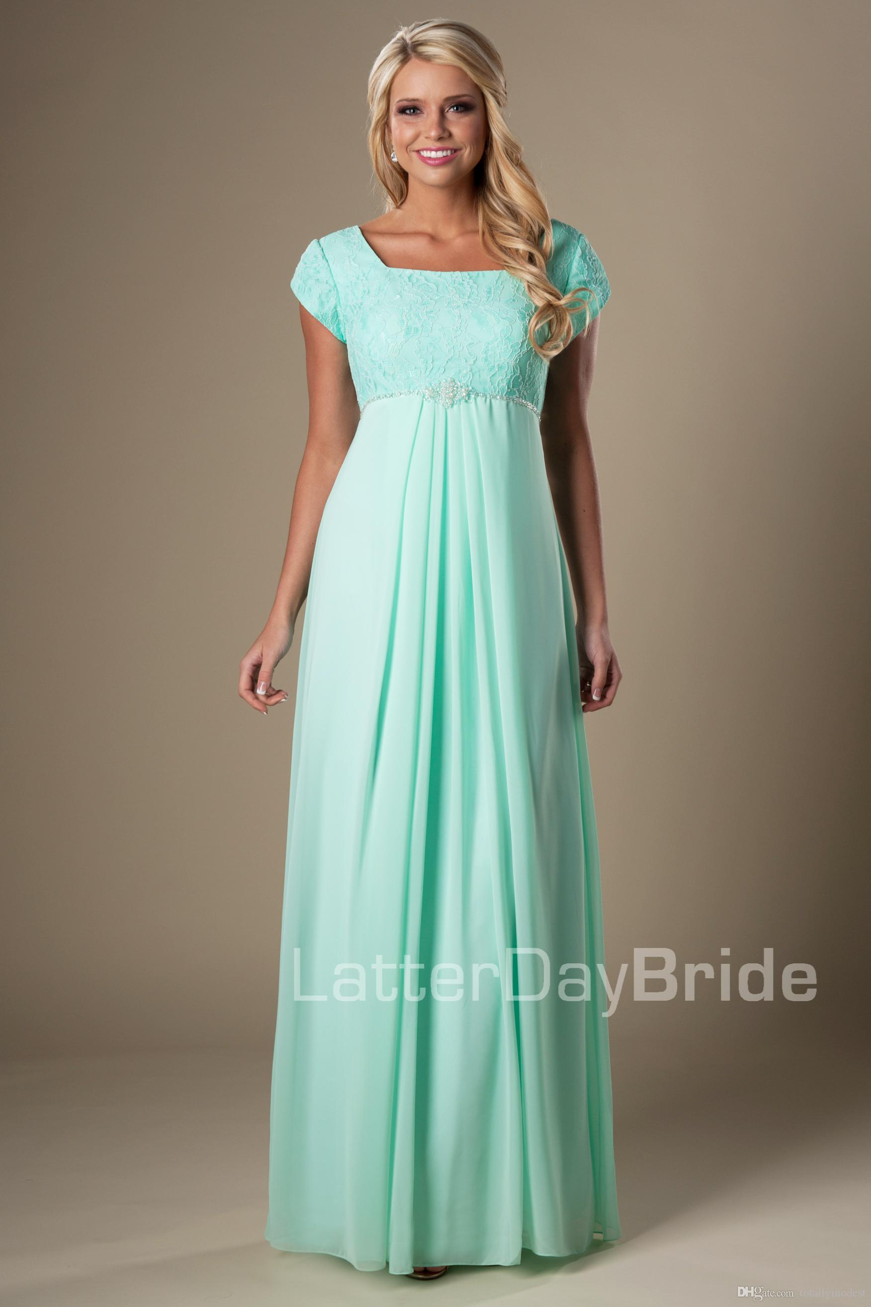 Mint Lace Chiffon Maternity Modest Bridesmaid Dresses Long With Cap ...