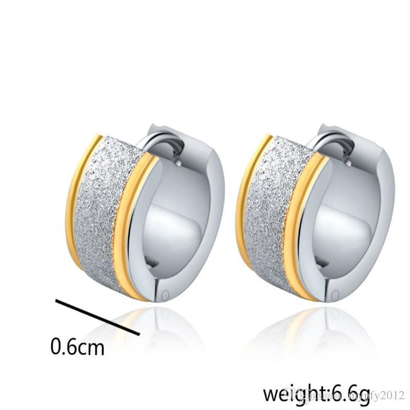 Punk Jewelry New Fashion Silver Gold Earrings Stainless Steel Grinding Hoop Earring For Women Men HZ