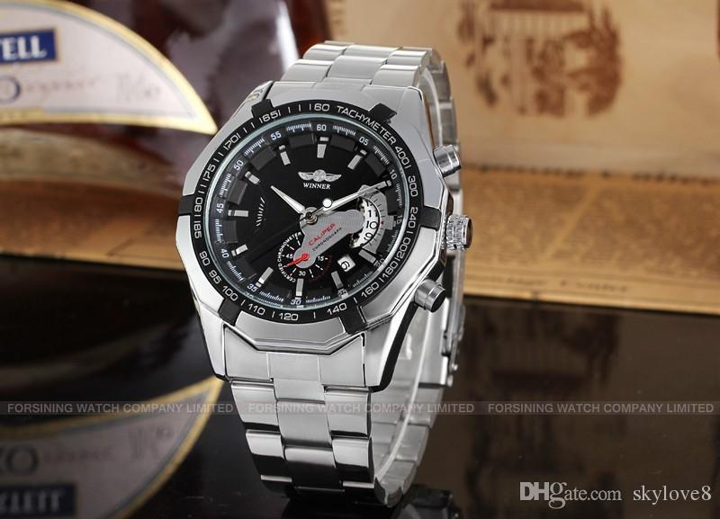 Boîte à montres gratuite T-WINNER WRG8029M4B3 Montres automatiques pour hommes de la marque de mode Classique ceinture en acier noire entreprise Montre mécanique cadeau d'anniversaire