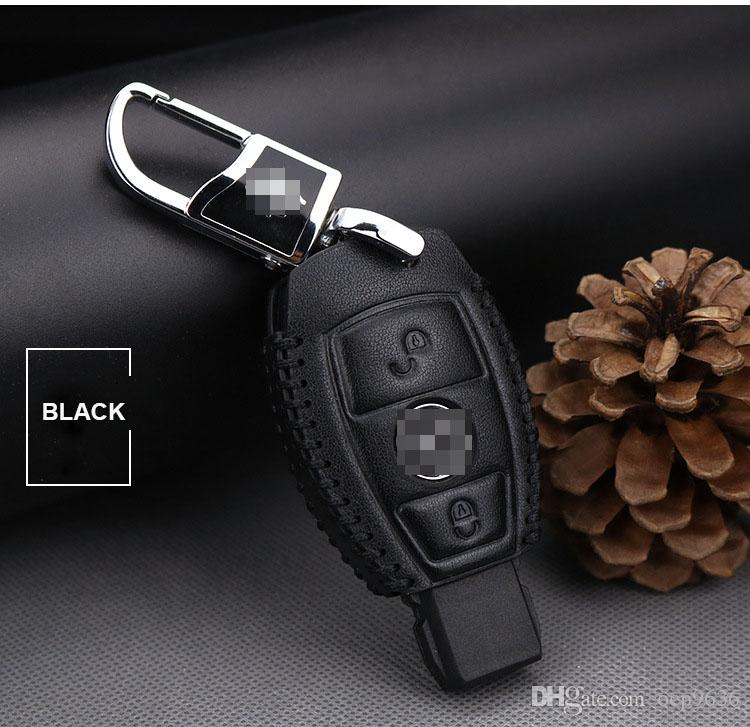 Premium Leather 2 Buttons Key Case Fit For Mercedes Benz