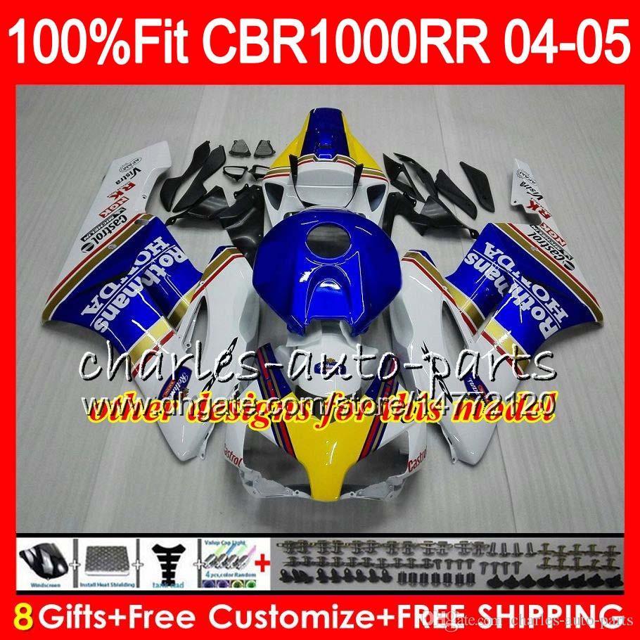 Тело для инъекций для Honda White Blue CBR 1000RR 04 05 CBR CBR 1000 RR 79HM11 CBR1000RR 04 05 CBR1000 RR 2004 2005 обтекательный комплект 100%