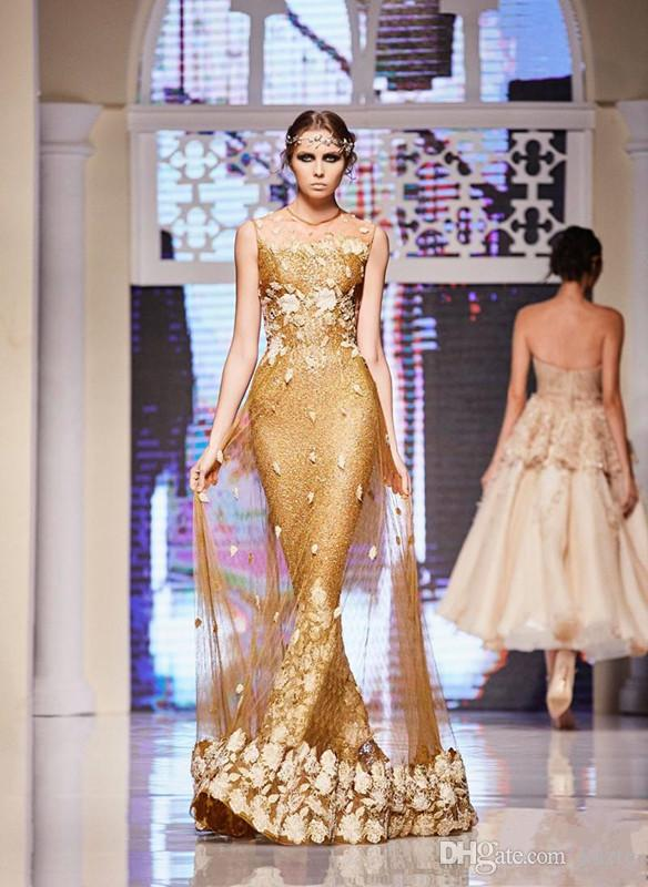 Elie Saab Gold Dresses Evening Wear Sequined Mermaid Sheer Jewel Neckline Party prom Gowns 3D floral Floor Length Formal Dress