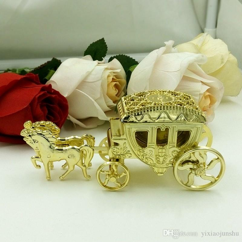 Romantic Wedding Favor Gold Silver Clear Haimens Carriage Candy