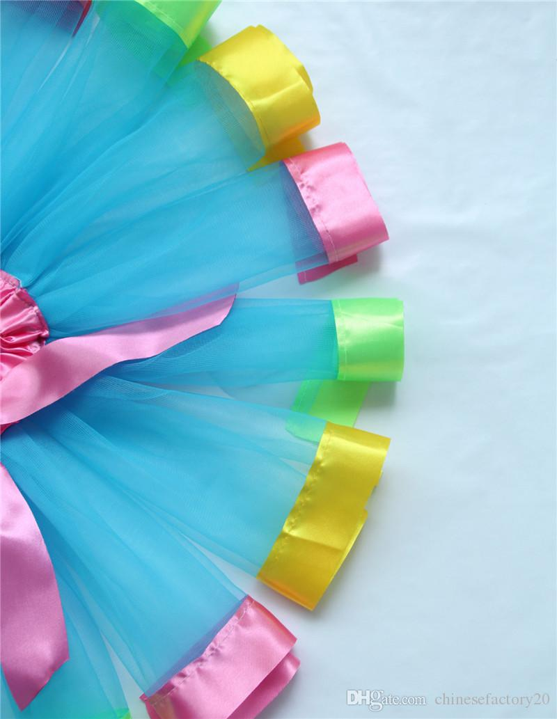 Children Rainbow Tutu Skirt Baby Girls Rainbow Lace Tulle Bow Princess Dresses Pettiskirt Ruffle Ballet Dancewear