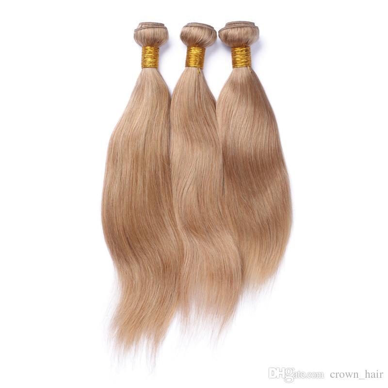 Puro colore # 27 capelli con chiusura 4X4 nodi sbiancati 9A capelli umani brasiliani lisci miele capelli biondi tesse con chiusura in pizzo prezzo a buon mercato