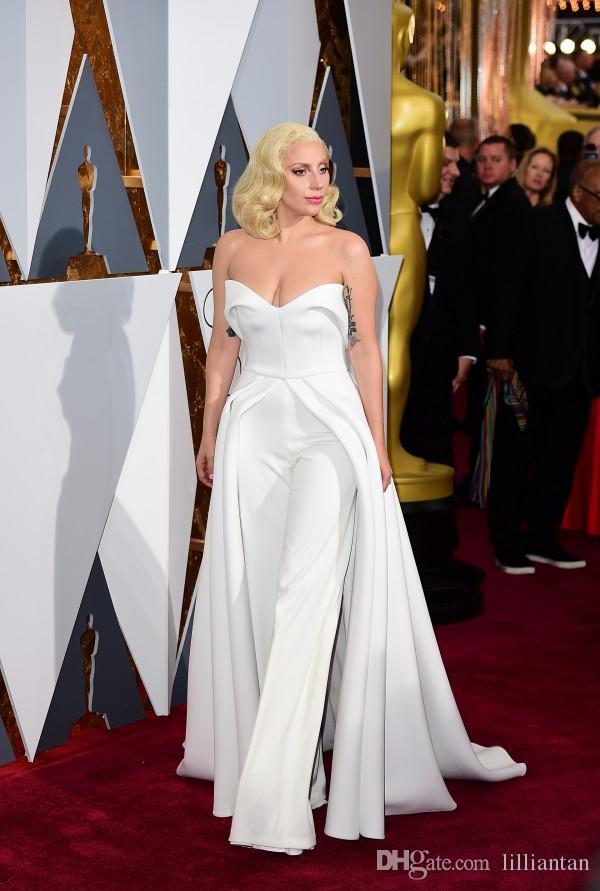 Oscar Lady Gaga tapis rouge robes pantalon blanc combinaison avec le long train tenues uniques robes de soirée robes de célébrité Maxwell mode satin