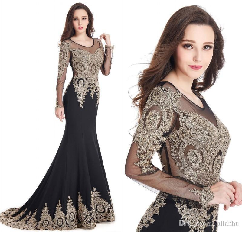6ca7cede584 2018 Gold Lace Appliqued Black Mermaid Evening Dresses Jewel Sheer Long  Sleeves Sequined Sweep Train Formal Evening Party Gowns CPS404 Prom Dresses  Mermaid ...