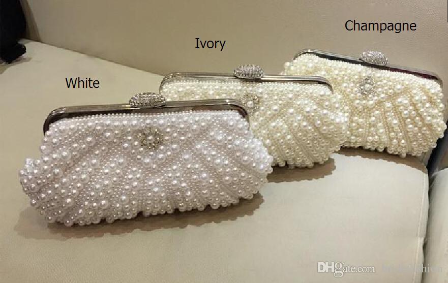 Perlen Braut Handtaschen Prom Party Abendtasche Diamant Clutch Strass Braut Hochzeit Nachtclubs Taschen Kette weiß Champagner Elfenbein