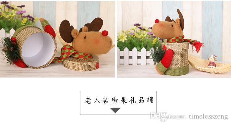 Noel süslemeleri yaratıcı hediye Şeker kavanoz çerezleri kutusu Noel Baba kardan adam açık kahverengi bebek Keten hediye kutusu