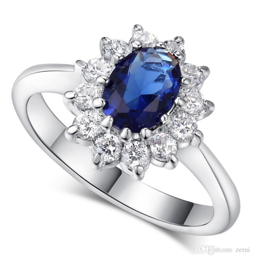 Top Quality Princess Kate Blue Gem Created Blue Crystal Silver Color Wedding Finger Crystal Ring Brand Jewelry for Women