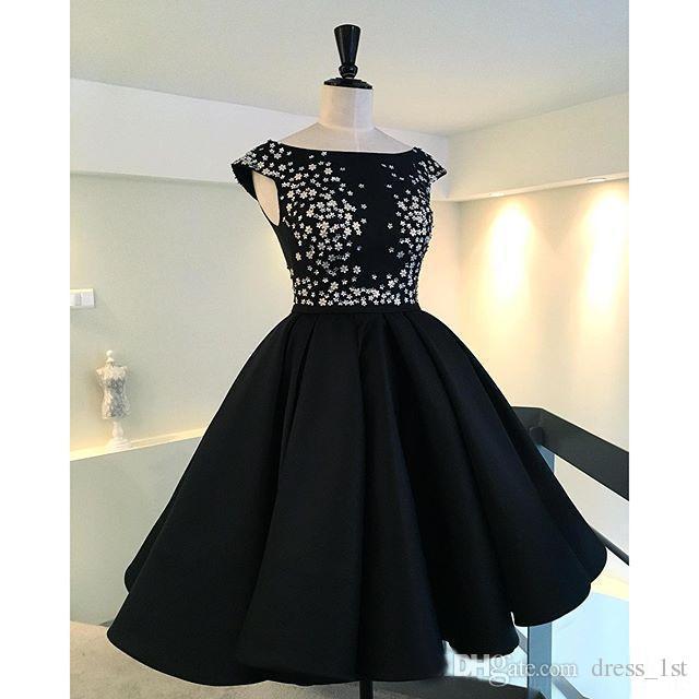 Новая мода 2016 маленькое черное Jewel длина колена платья вечерние платья Vintage бисера Паффи вечерние платья на заказ EN7165