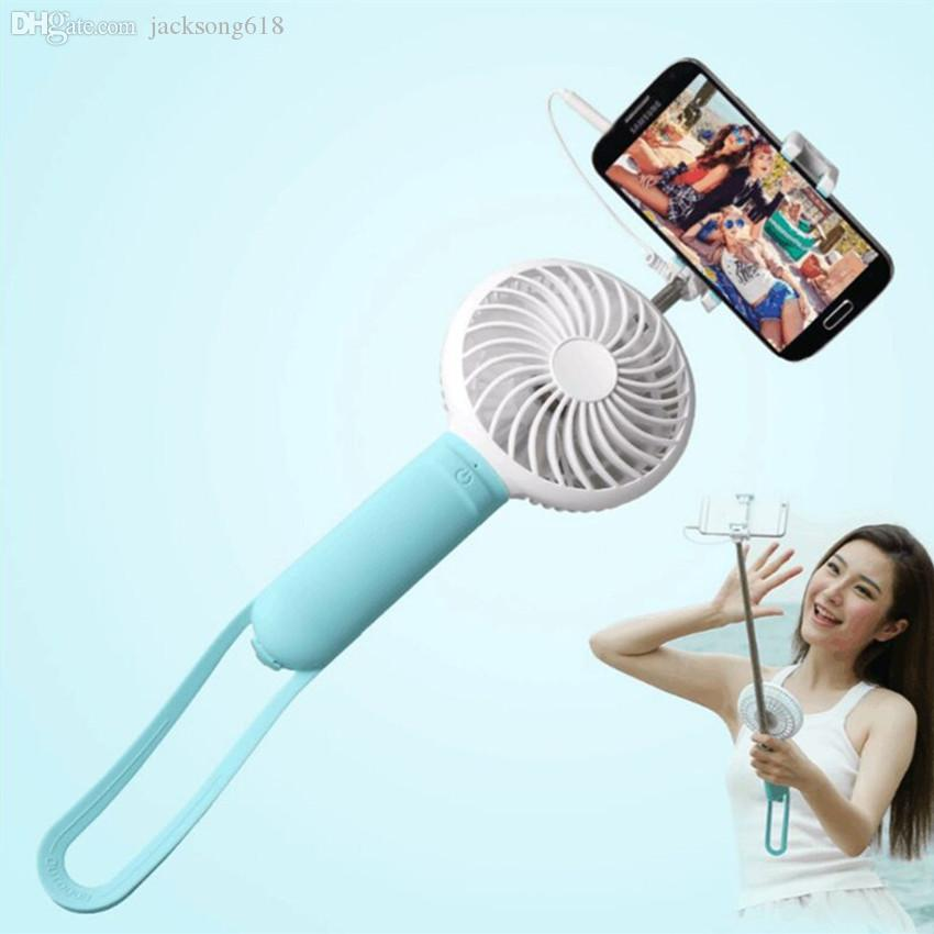 Hot Fashion Mini Selfie Stick with Portable Fan Wired Extendable Selfie Monopod Mobile Power Bank 3 in 1 Multifunction Self-timer USB Fan