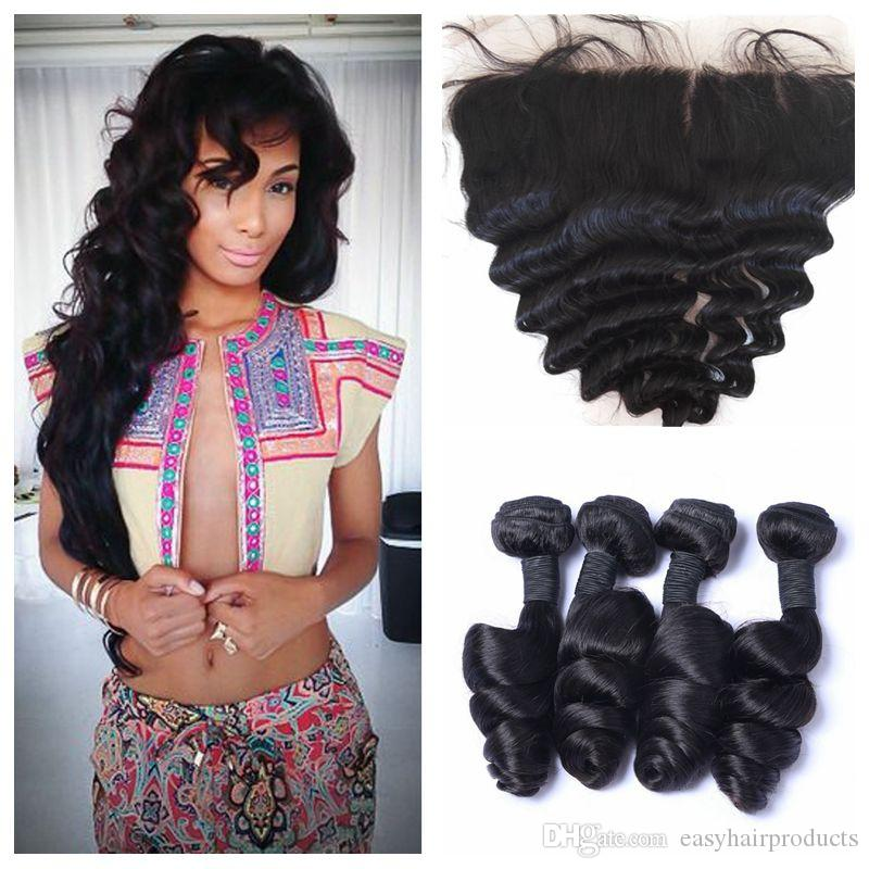 Malaysian Loose Wave Lace Frontal Closure With 4 Bundles Unprocessed
