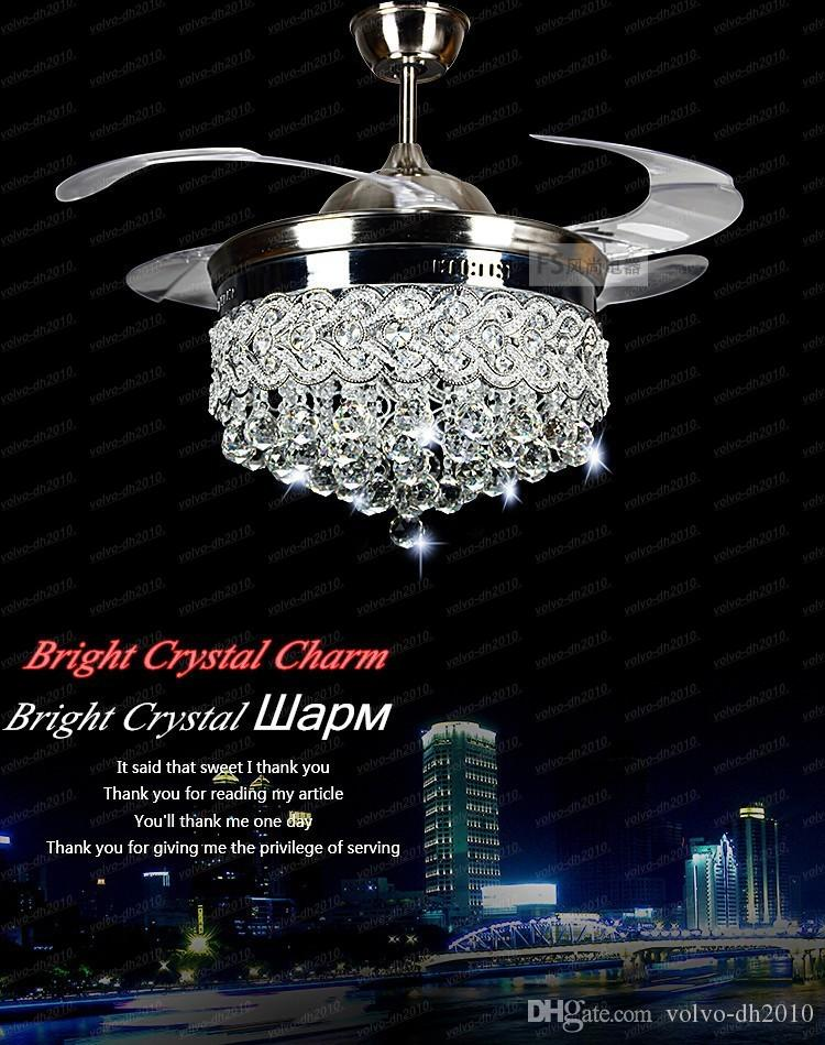 Ventiladores de techo con luz cristalina invisible Lámpara LED moderna de cristal Sala interior Ventiladores de techo Control remoto con luz de cristal Control LLFA11