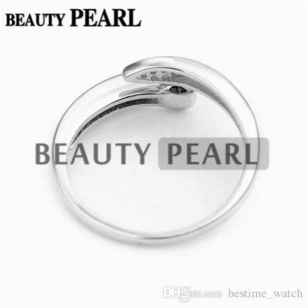 Bulk of Ring Blanks DIY Jewellery Making 925 Sterling Silver Ring Setting Pin Fits Round Pearls
