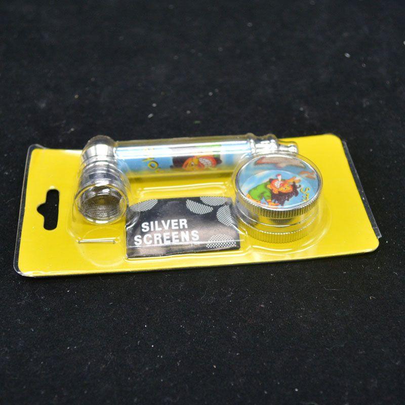 Mini-Mühle des kleinen Anzugs rauchenden Metalls auf dem Metallrohrgeflecht