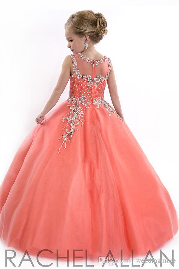 Nuovi abiti da spettacolo bambine 2018 adolescenti Principessa Tulle Gioiello perline di cristallo bambini Ragazze di fiori vestono abiti di compleanno