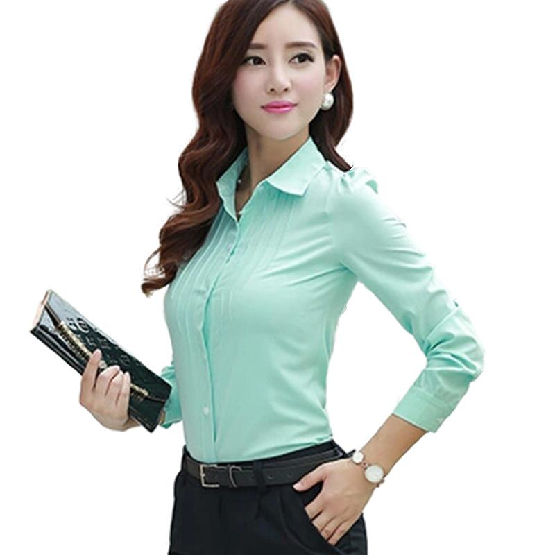 fa0a8d04d3b New summer fashion women s chiffon long-sleeve blouses turn-down Collar  slim waist blusa feminina plus size office tops