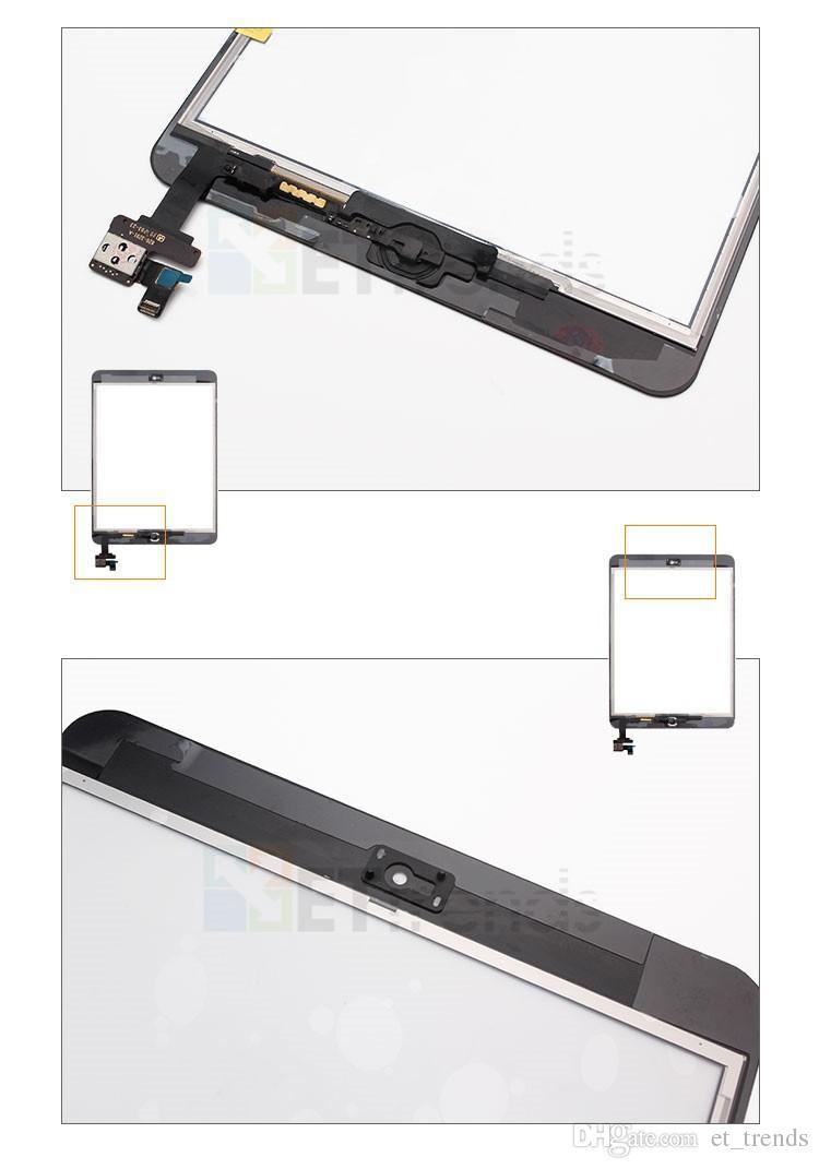 Completa tela de toque digitador assembley completo para ipad mini / mini 2 painel de toque com peças ic com botão home dhl frete grátis