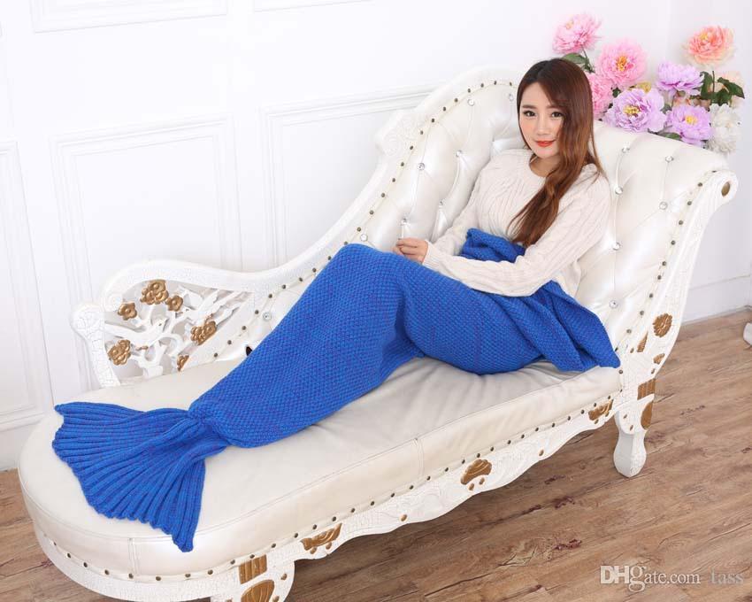 20 UNIDS Crochet Mermaid Tail Blanket Super Soft Warmer Manta Cama Dormir Traje Aire acondicionado Manta de punto Envío Gratis