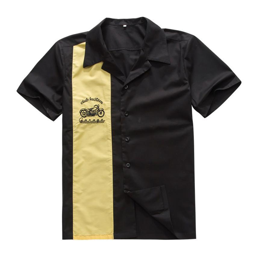 Compre Atacado Camisas De Trabalho Dos Homens Online Vintage Rock 40 s  Estilo Ocidental Amarelo Cowboy Mangas Curtas Hip Hop Partido Club Shirt  Com Bordado ... d095c4456ea