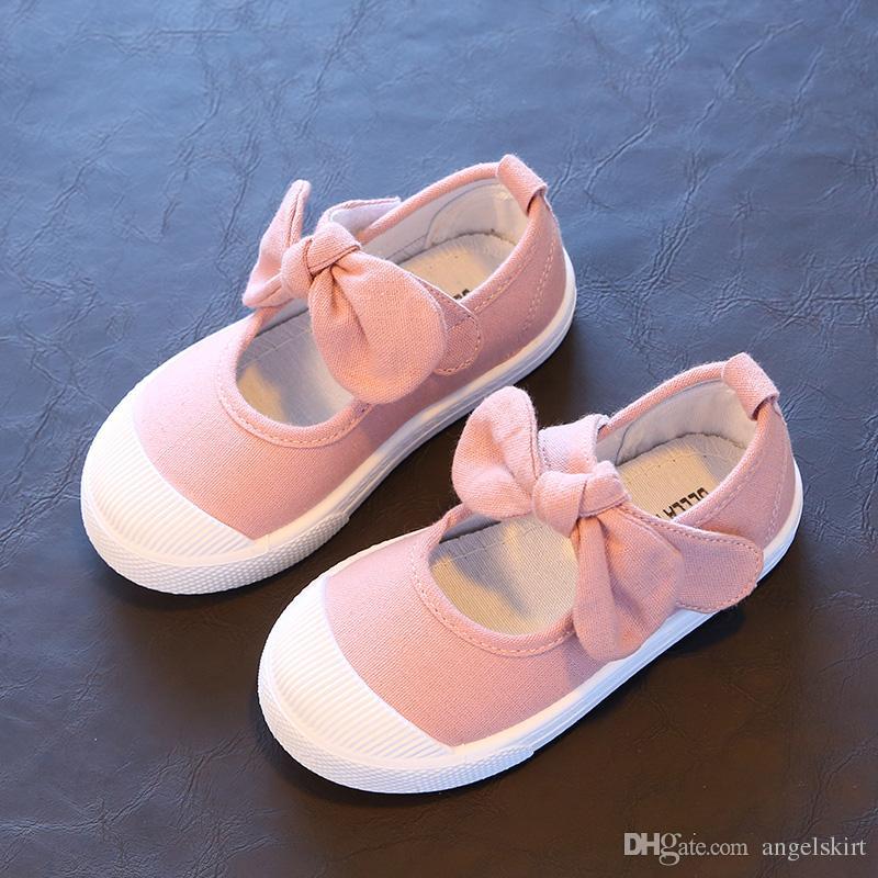 Boyutu 21-30 yaz tarzı çocuk kız ayakkabı sevimli ilmek prenses ayakkabı kızlar kanvas ayakkabılar yumuşak taban şeker renk ço ...