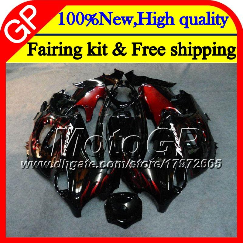 Body For SUZUKI KATANA GSXF 600 750 GSXF600 98 99 00 01 02 21GP12 GSX600F GSXF750 1998 1999 2000 2001 2002 Motorcycle Fairing Red flames