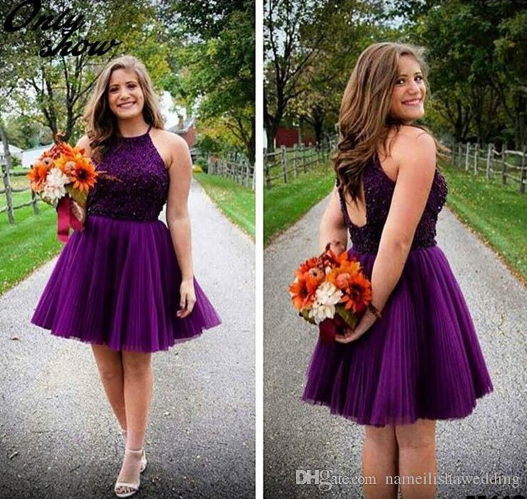 Purple Short Homecoming Dresses Halter Neck Backless Beads Tulle