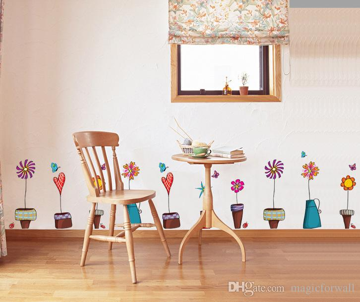 Beautiful Flowerpot Butterfly Wall Decals Home Decor Wall Art Mural ...