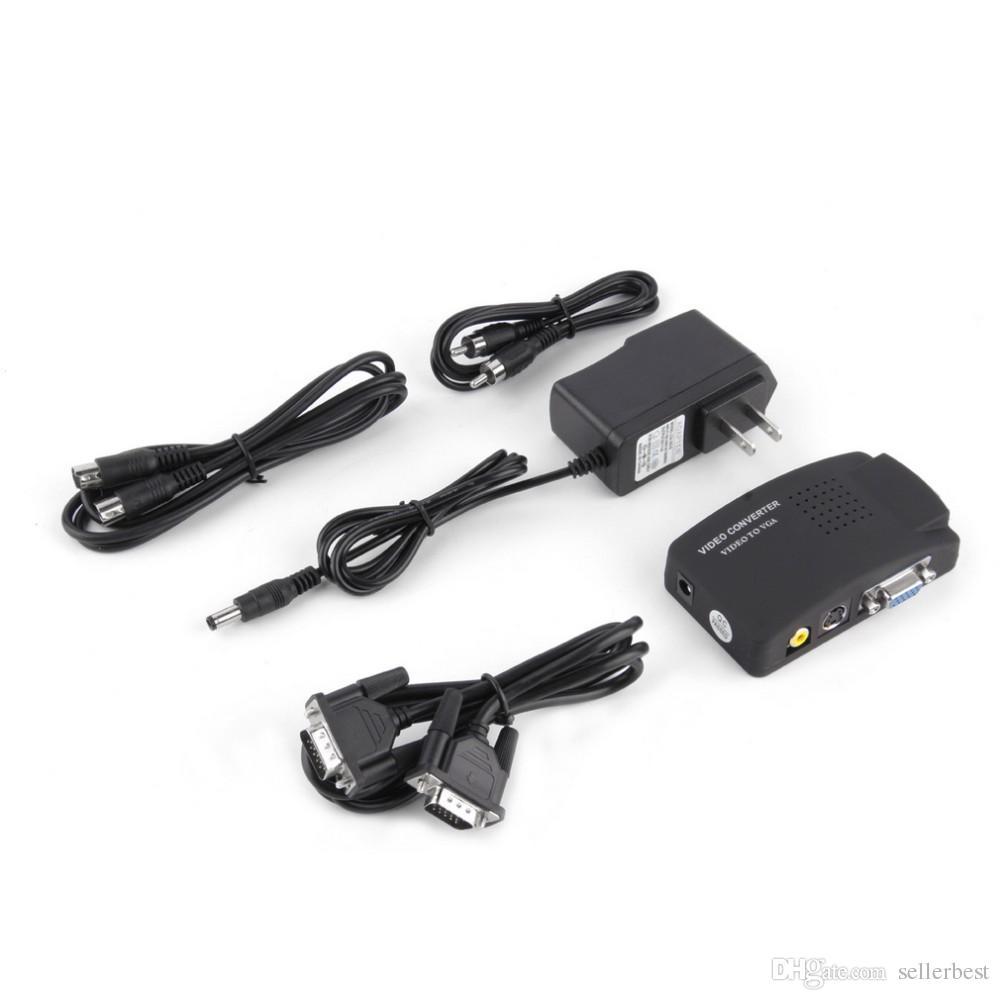 PC portable Vidéo composite TV RCA BNC Composite S-Vidéo AV V / CVBS Dans PC VGA LCD Convertisseur Convertisseur Adaptateur Boîte De Vente En Gros