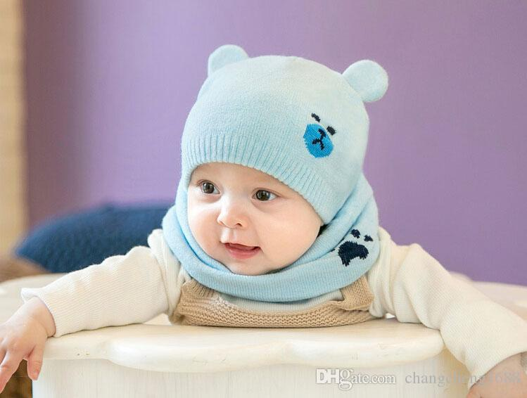 2017 Unisex Knit double Ear Beanies Hats and Ring Scarf Set Child Baby Bear Jacquard Solid Color Winter Warm Cap Suit MZ5063