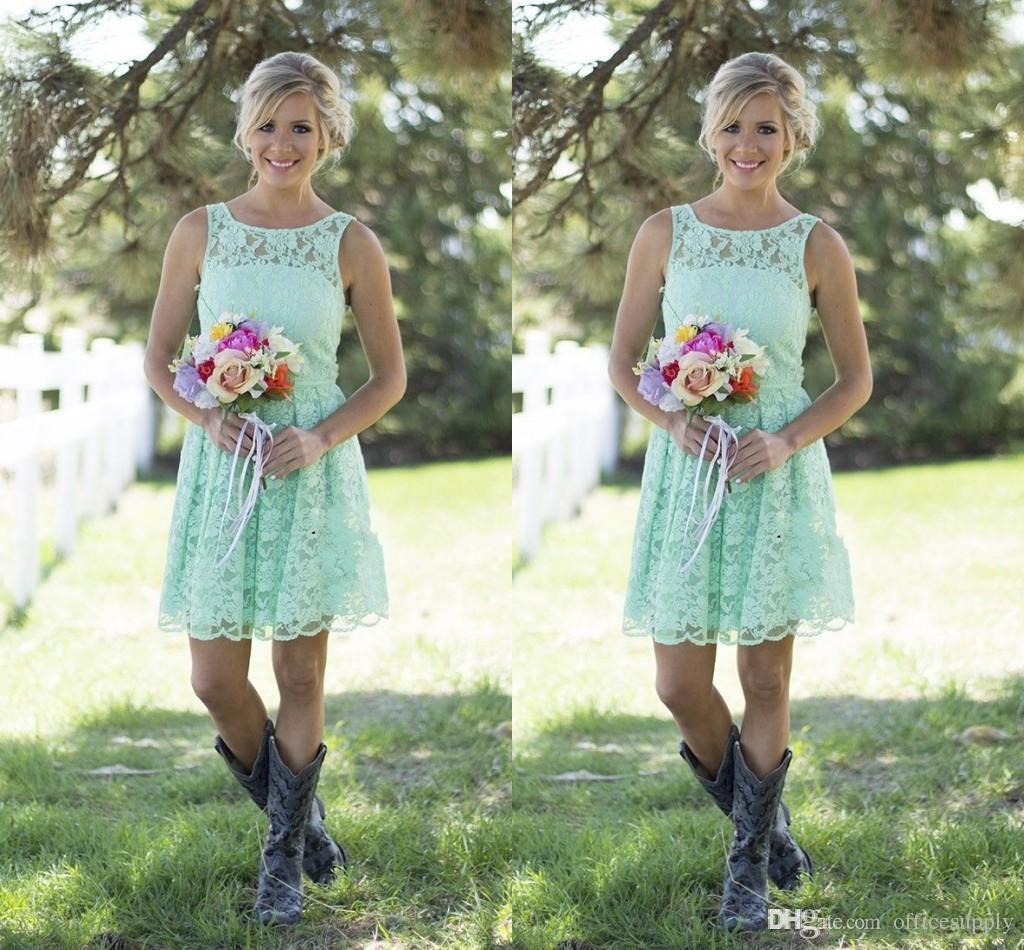 2017 kurze Spitze Brautjungfer Kleider Country Style Mint Brautjungfer Kleider Für Hochzeit Erwachsene Knielänge Abendgesellschaft Kleider