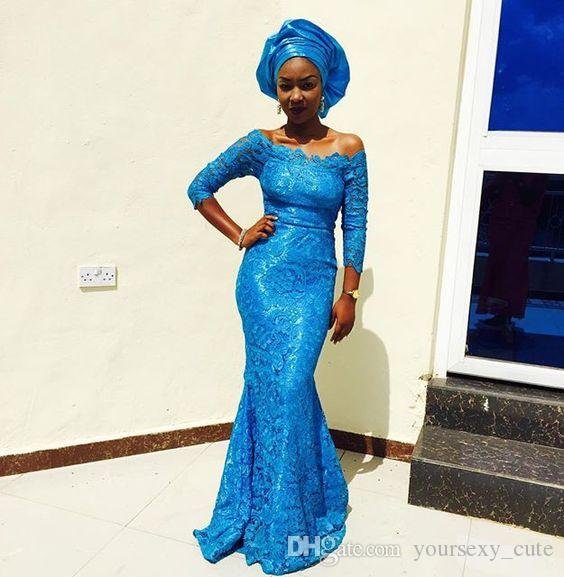 e8cf3e5f1c Classic Lace Mermaid Evening Dresses 2017 Off Shoulder 3/4 Long Sleeves  Floor Length Marine Blue Prom Dresses African Aso Ebi Gowns Silver Evening  Dresses ...