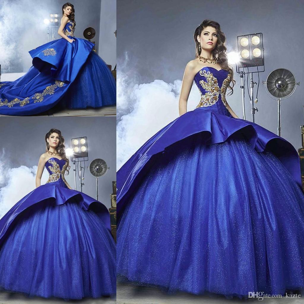 Royal Blue Cathedral Train Quinceanera Dresses 2018 Sparkly Gold Detail Sweet 16 Girls Ball Gowns Plus Size Masquerade Prom Party Dress