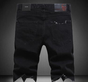 NOUVELLE arrivée hommes shorts pantalons vêtements Summer Shorts marque de marée européenne fashion hiphop hommes minces trous minces solides marée jeans pantalons shorts