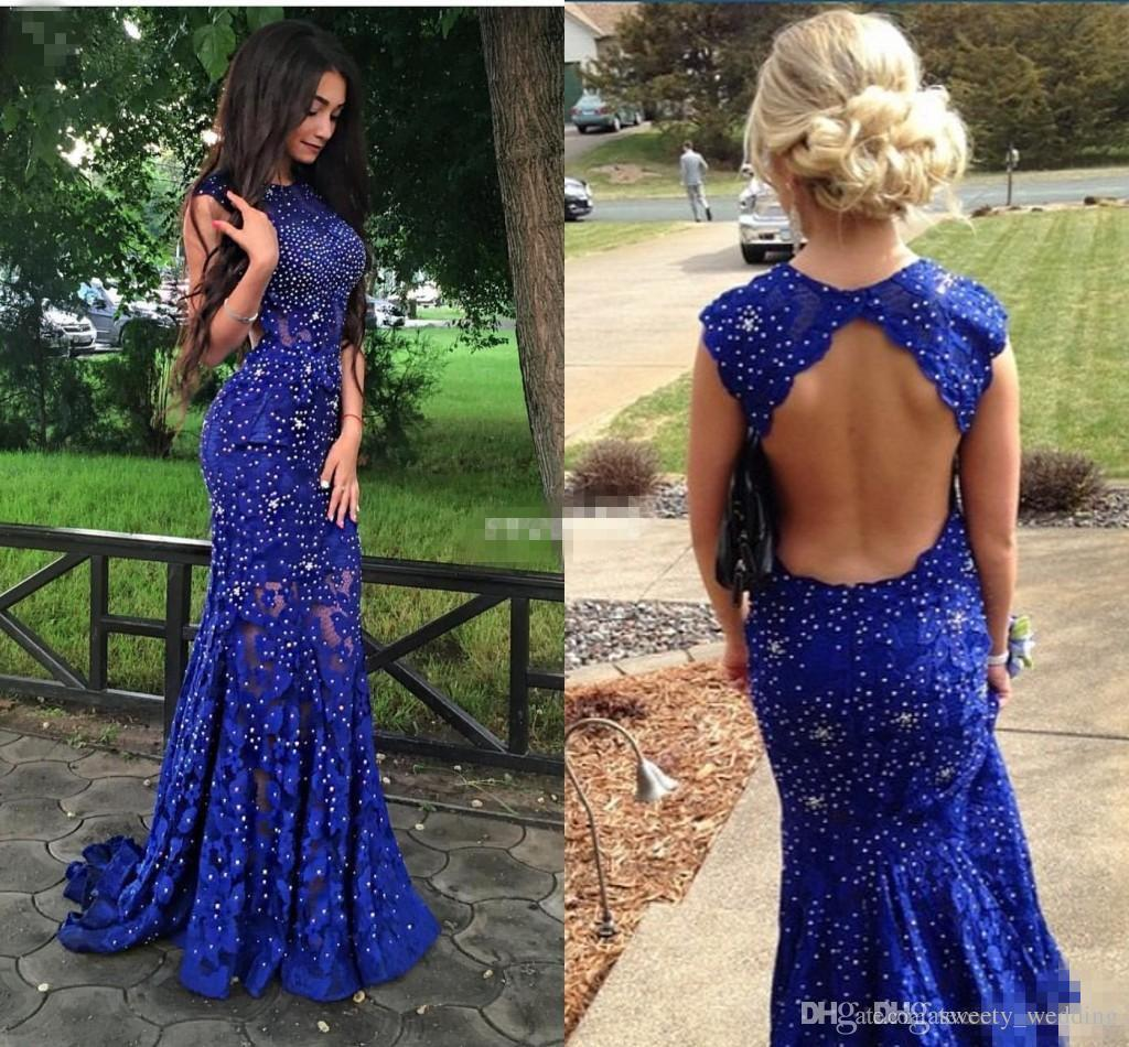 Royal Blue Lace Prom Dresses Sparkly Crystals Open Back Sleeveless Mermaid  See Through 2016 New Women Pageant Evening Gowns Long Party Dress Vintage  Prom ... f80f9f520
