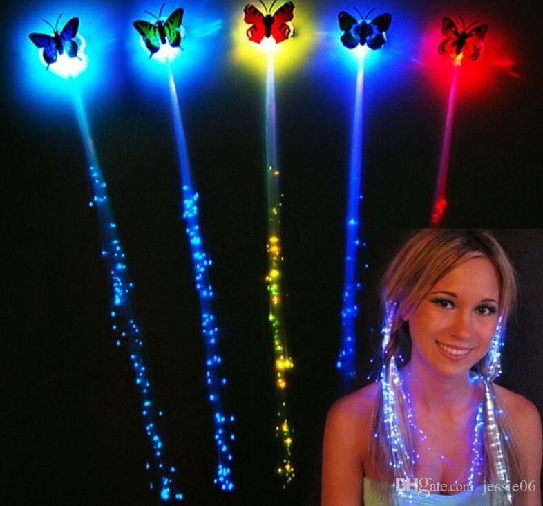 LED flash farfalla fibra treccia party dance illuminata bagliore luminoso estensione dei capelli rave decorazioni di halloween favore di Natale
