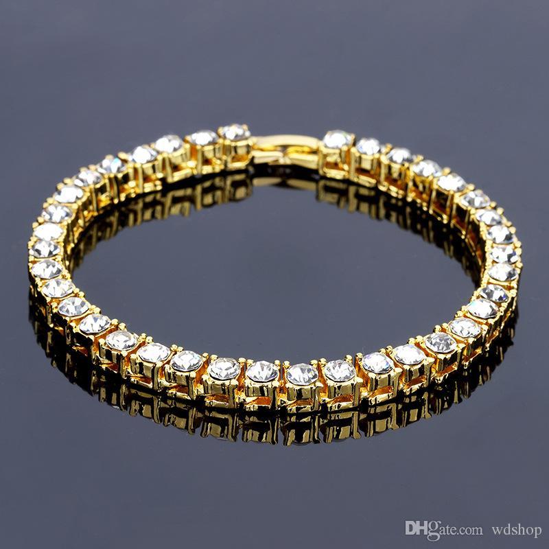 Goldfarbe Hip Hop Schwere Bling Iced Out Armbänder 5mm 8mm Breite Mit 20 cm Lange Gliederkette Armband Für Männer Schmuck Geschenk